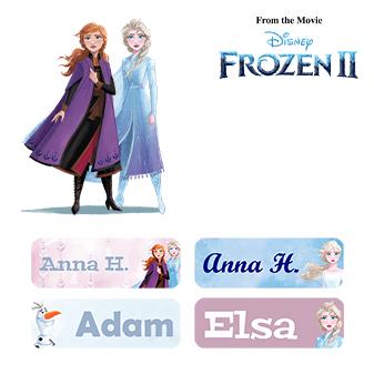 Frost namnmärken - Köp klistermärken med Elsa och Anna hos Ikast Etikett 5b28410288b6c